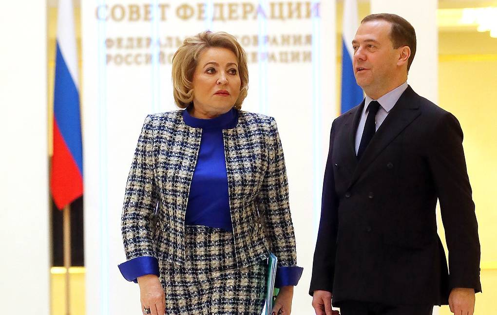 Russian Federation Council Speaker Valentina Matviyenko and Prime Minister Dmitry Medvedev Yekaterina Shtukina/Russian Government Press Office/TASS
