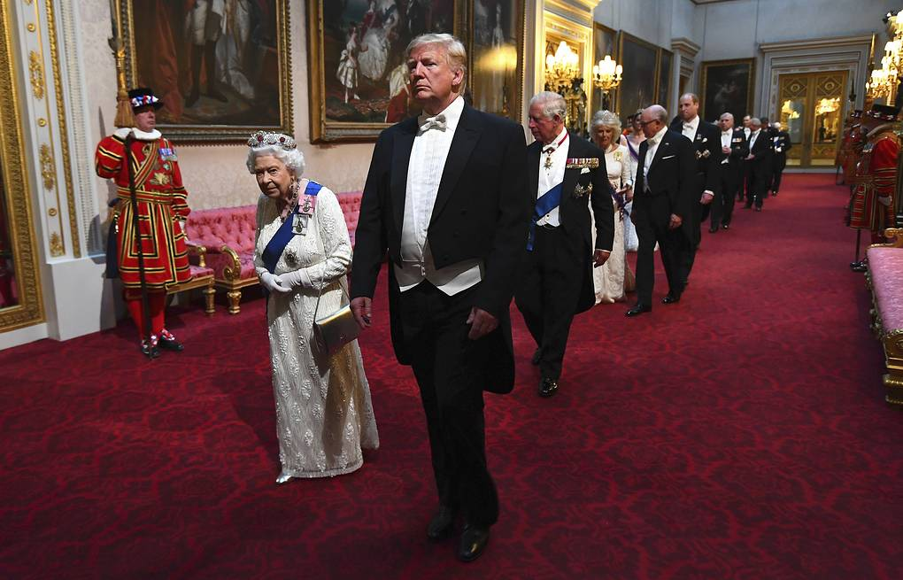 Britain's Queen Elizabeth II and US President Donald Trump at Buckingham Palace in London Victoria Jones/Pool Photo via AP