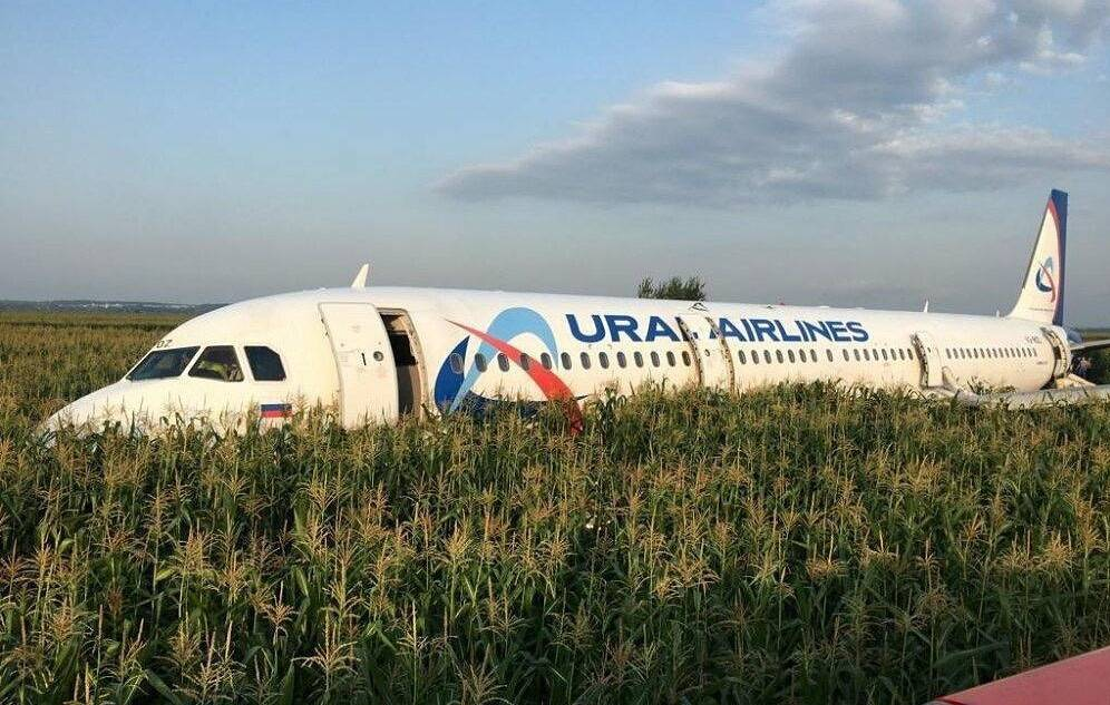 A-321 passenger plane at the site of its emergency landing in a field outside Zhukovsky airport Galina Yeliseyeva/TASS