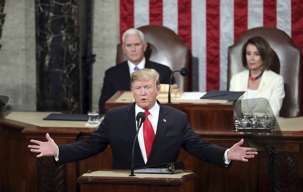 US President Donald Trump addresses the Congress, February 6, 2019 AP Photo/Andrew Harnik