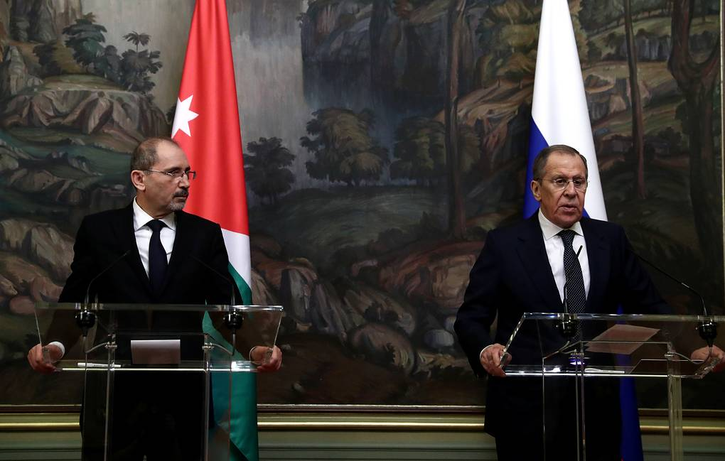Jordanian Foreign Minister Ayman Hussein Abdullah Al-Safadi and Russian Foreign Minister Sergey Lavrov  Sergei Fadeichev/TASS