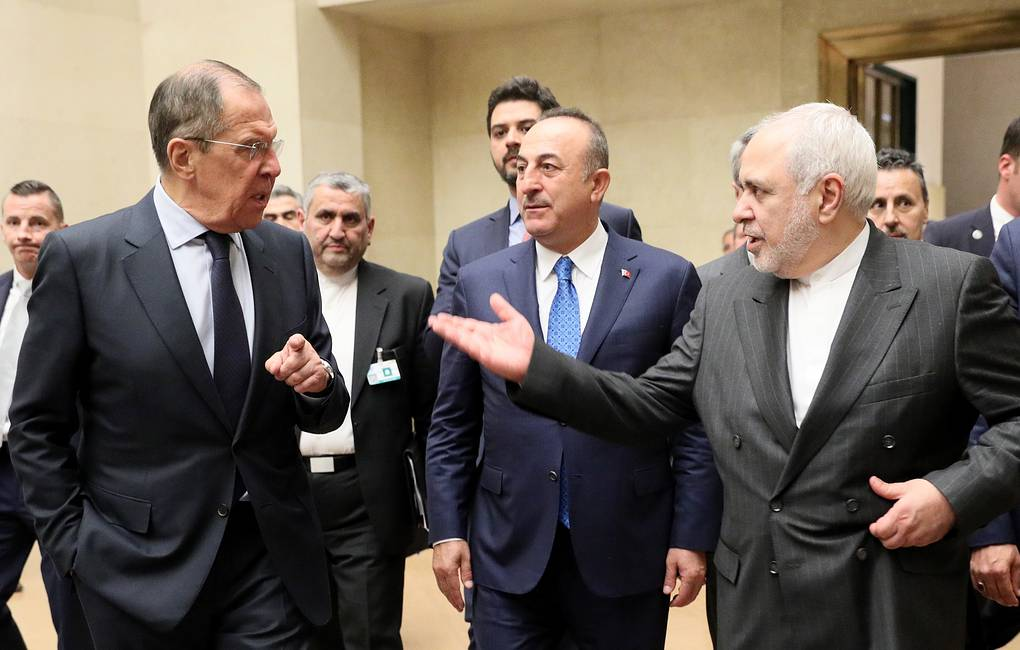 From left: Russia's Foreign Minister Sergey Lavrov, Turkey's Foreign Minister Mevlut Cavusoglu and Iran's Foreign Minister Mohammad Javad Zarif Alexander Shcherbak/TASS