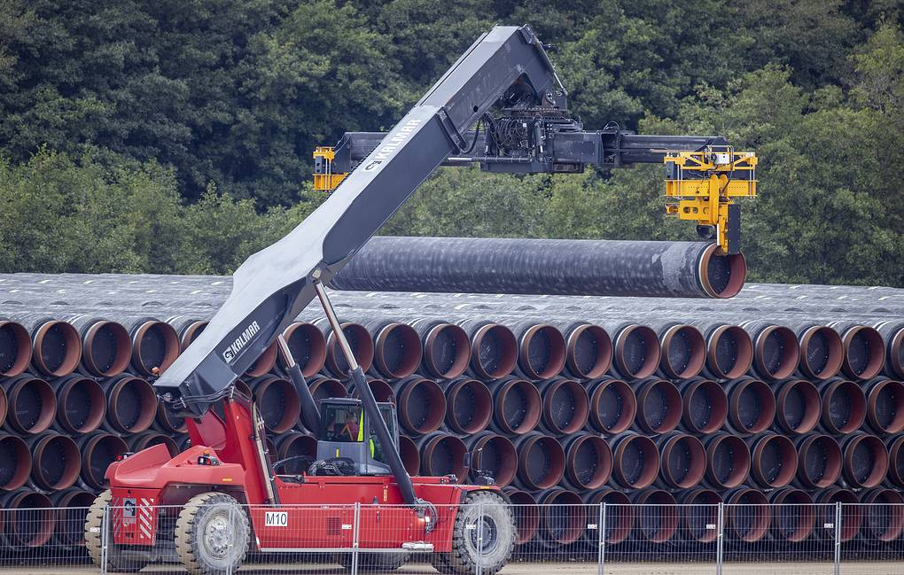 A transport vehicle moving a tube for the Nord Stream 2 natural gas pipeline, Ruegen, Germany Jens Buettner/dpa via AP