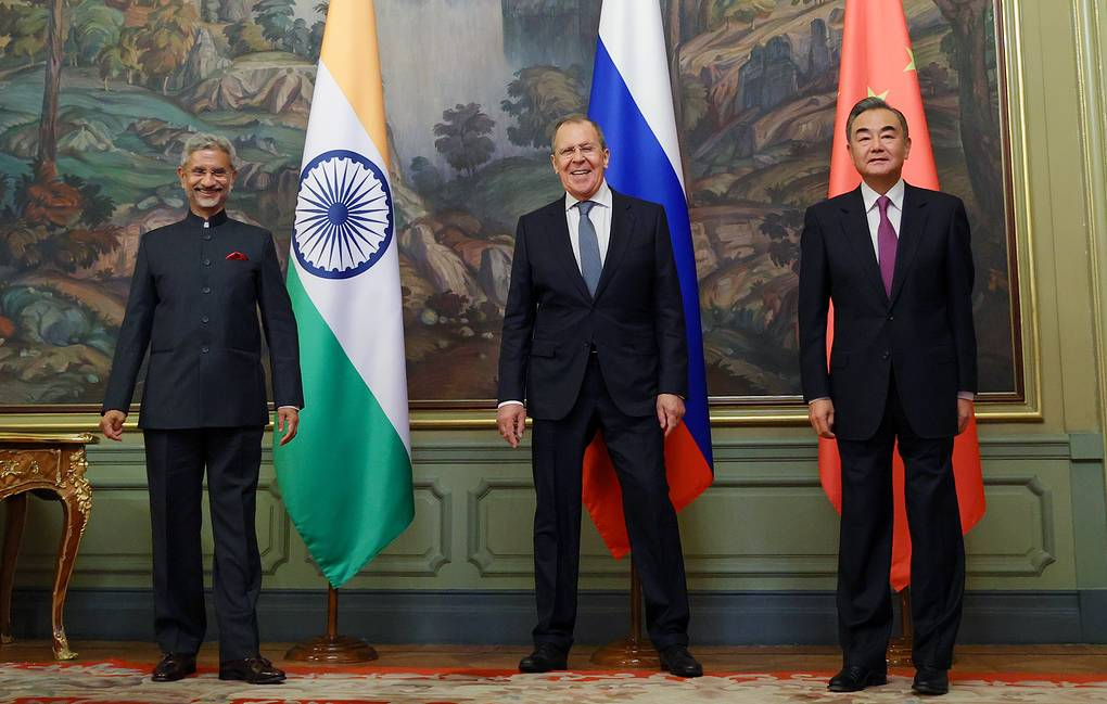India's Foreign Minister Subrahmanyam Jaishankar, Russia's Foreign Minister Sergey Lavrov and China's Foreign Minister Wang Yi Russian Foreign Ministry Press Office/TASS