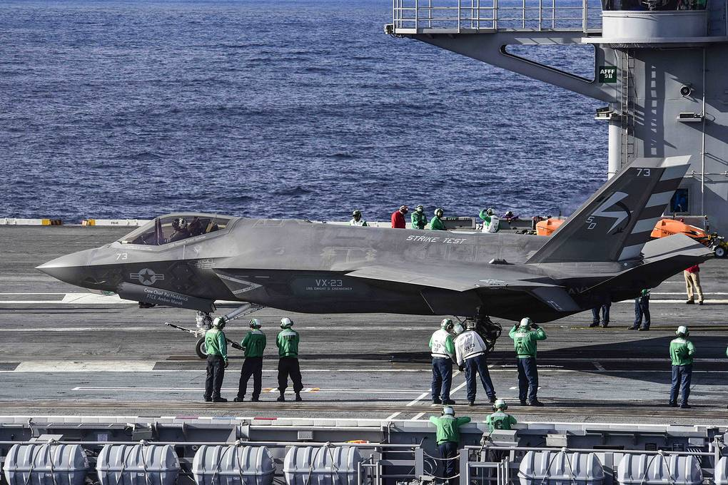 F-35C на авианосце USS Dwight D. Eisenhower в Атлантическом океане, 2015 год  REUTERS/U.S. Navy/Mass Communication Specialist 3rd Class Jameson E. Lynch/Handout via Reuters