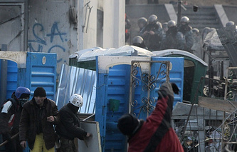 Protesters clashing with the police, Kiev, January 20