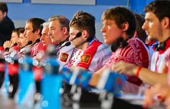Russian hockey team at a press conference in Sochi