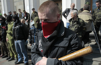Right Sector members and supporters gathered near the Verkhovna Rada last week