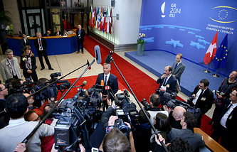 Press birefing at the end of the European Foreign affairs council  meeting at the EU headquarters in Brussels