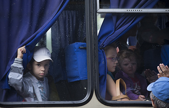 Children being evacuated from Sloviansk