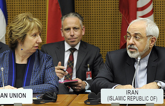 EU High Representative for Foreign Affairs Catherine Ashton (left) and Iranian Foreign Minister Javad Zarif (right)