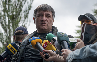 Ukraine's Interior Minister Arsen Avakov talks to journalists