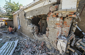 A house destroyed in shelling of Donetsk