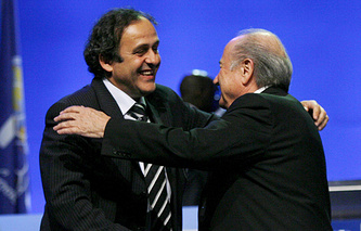 FIFA President Joseph Blatter (right) and UEFA President Michel Platini