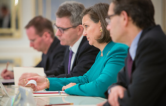 Victoria Nuland at a meeting in Kiev, October 6, 2014
