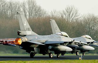 F-16 jet fighter aircraft of the Dutch Royal Air Force