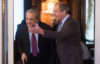 Arabian foreign minister Saud Al Faisal and Russia's Foreign Minister Sergei Lavrov