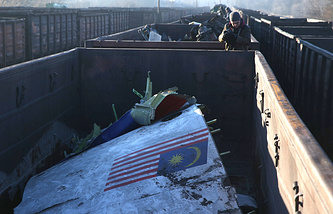 Debris from the crash site of the Malaysian Airlines Flight MH17