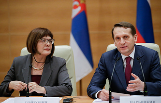 Serbian Parliament Speaker Maja Gojkovic and speaker of Russia's State Duma Sergey Naryshkin