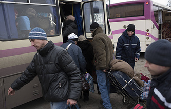 People are evacuated in eastern Ukraine