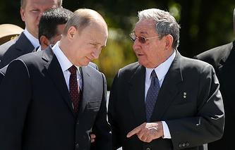 Russian president Vladimir Putin and Cuban leader Raul Castro