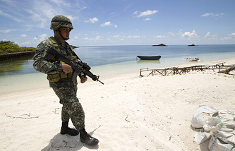 Filipino soldier on an island of the Spratly group