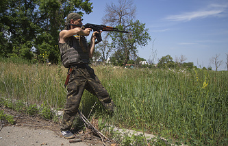 A Ukrainian serviceman on patrol