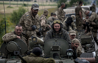 Government troops in Donbas