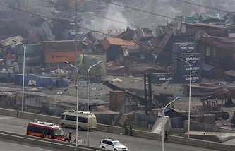 Site of an explosion at a warehouse in northeastern China's Tianjin