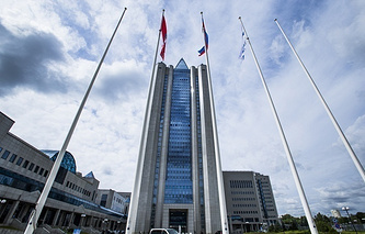 Headquarters of Russia's natural gas giant Gazprom