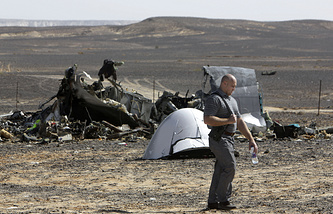 Wreckage of A321 passenger jet crashed in Egypt