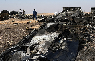 The site of A321 plane crash in Egypt