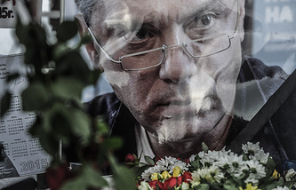 A portrait of politician Boris Nemtsov, murdered in central Moscow in February, 2015