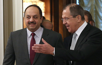 Qatari and Russian Foreign Ministers Khalid bin Mohammad Al Attiyah and Sergey Lavrov