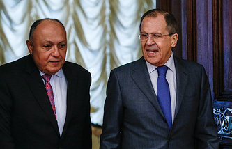 Egyptian and Russian Foreign Ministers Sameh Shoukry and Sergey Lavrov