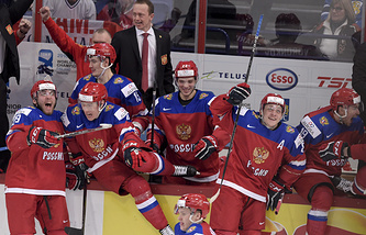 Russian youth team hockey players