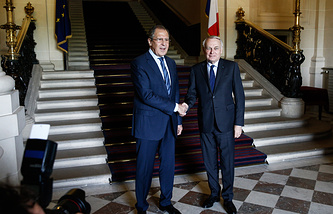 Russian and French Foreign Ministers, Sergey Lavrov and Jean-Marc Ayrault