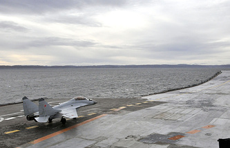 Carrier-based multirole fighter aircraft MiG-29K on Admiral Kuznetsov