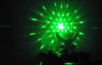Photon crystal shined with a laser