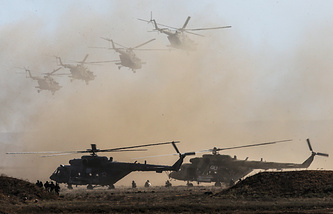 Russian military helicopters during the Kavkaz-2016 drills