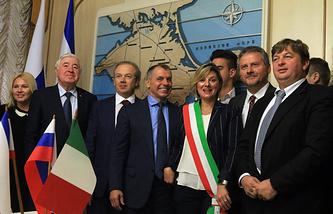 Members of Italy's regional councils and representatives of Italy's business communities in Crimea