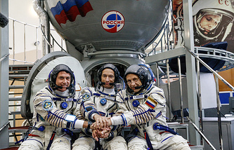 US astronaut Robert Kimbrough and Russian cosmonauts Sergey Ryzhikov and Andrey Borisenko