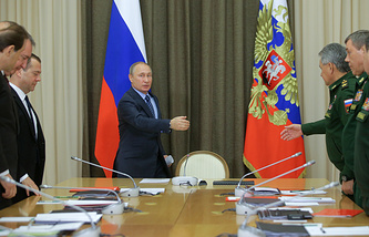 Russia's President Vladimir Putin at a meeting on the mobilization readiness of the Russian defense industry complex