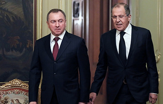 Belarusian Foreign Minister Vladimir Makey and Russian Foreign Minister Sergey Lavrov