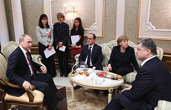 Normandy Four countries' leaders, Russia's president Vladimir Putin, France's president Francois Hollande, Germany's chancellor Angela Merkel and Ukraine's president Petro Poroshenko, 2015