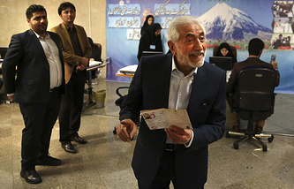 Former Iranian Oil Minister Mohammad Gharazi registering his candidacy for the May 19 presidential elections in Tehran, Iran