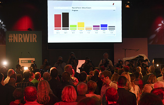 Social Democratic Party supporters watch first results on a screen at the SPD election party in Duesseldorf, Germany