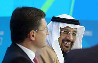 Russian Energy Minister Alexander Novak and Khalid A. Al-Falih, Minister of Energy, Industry and Mineral Resources of Saudi Arabia