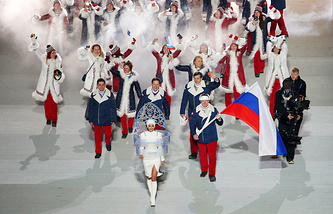 Team Russia seen during the Opening Ceremony of the Sochi 2014 Olympic Games in Sochi