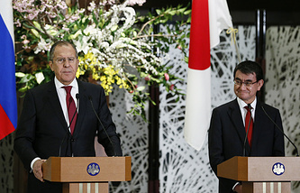 Russian and Japanese Foreign Ministers, Sergey Lavrov and Taro Kono